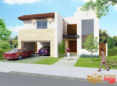 Perspectivas 3d casa de los lagos blog goldman renders 3d for Casas contemporaneas de dos pisos